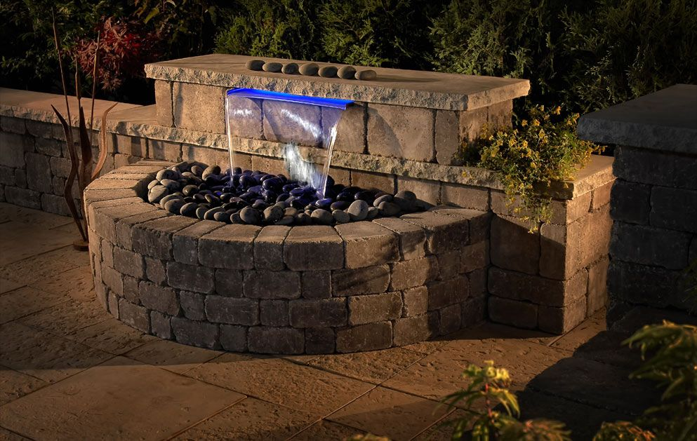 Fireplace patio kit waterfall water feature for the for Waterfall garden feature