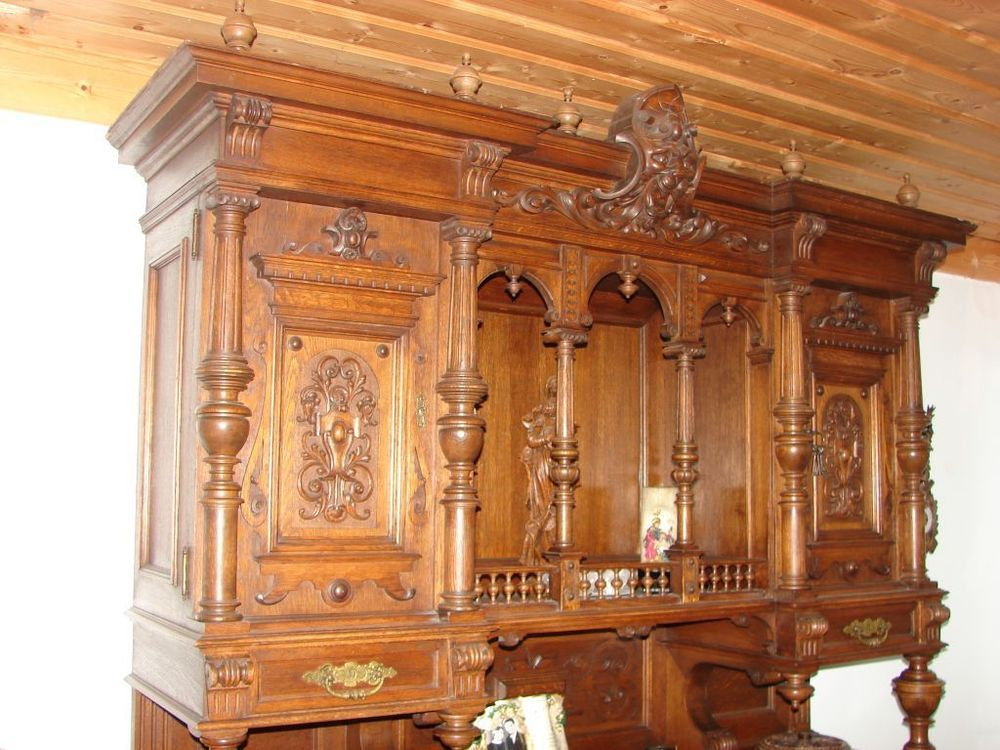 wohnzimmerschrank buffet v ca 1870 antik sch ne schnitzereien m bel kunsthandwerk. Black Bedroom Furniture Sets. Home Design Ideas
