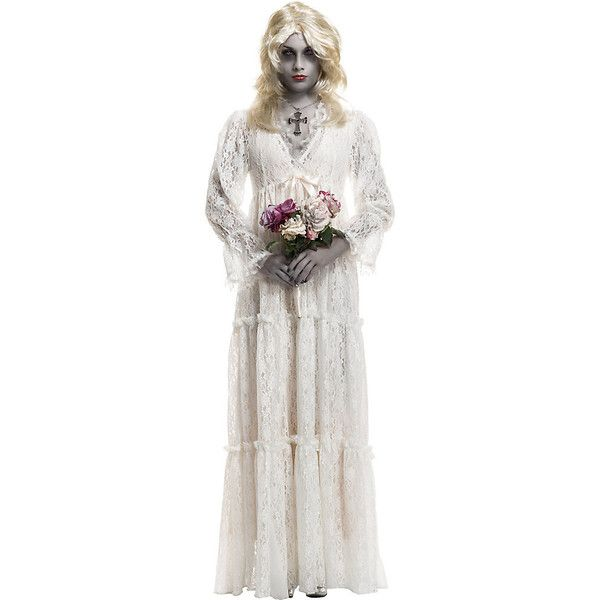 Adult Lost Soul Gown Costume ($85) ❤ liked on Polyvore featuring costumes, halloween costumes, multicolor, white costume, babydoll costume, white halloween costumes, baby doll costume and lace costume