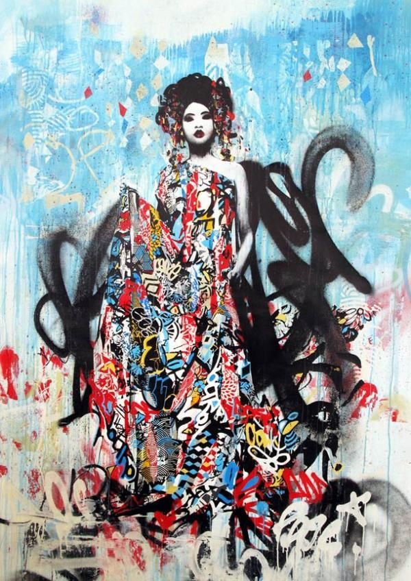 Framed Canvas print graffiti geisha girl  Japan Street Art painting Australia