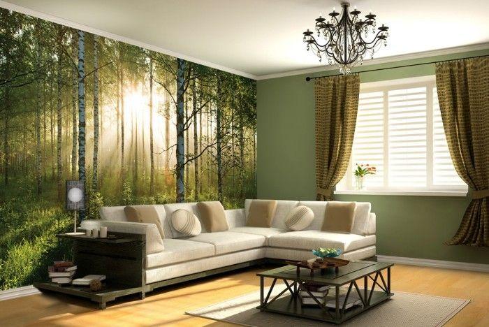 Moderne Fototapete Im Wohnzimmer Als Raumdekoration Wald Beim Sonnenuntergang