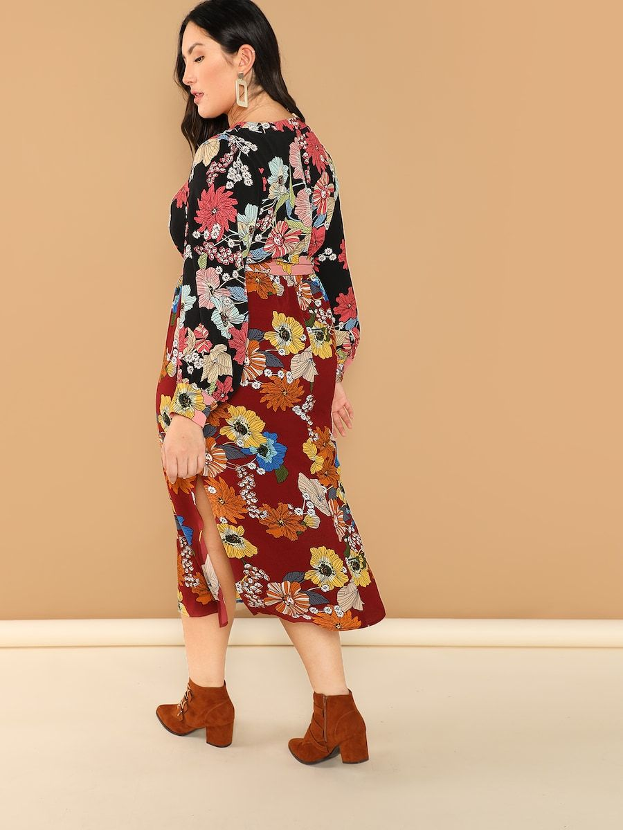 c5e85000f3 Plus Flower Print Belted Pencil Dress | SHEIN | Yumi in 2019 ...
