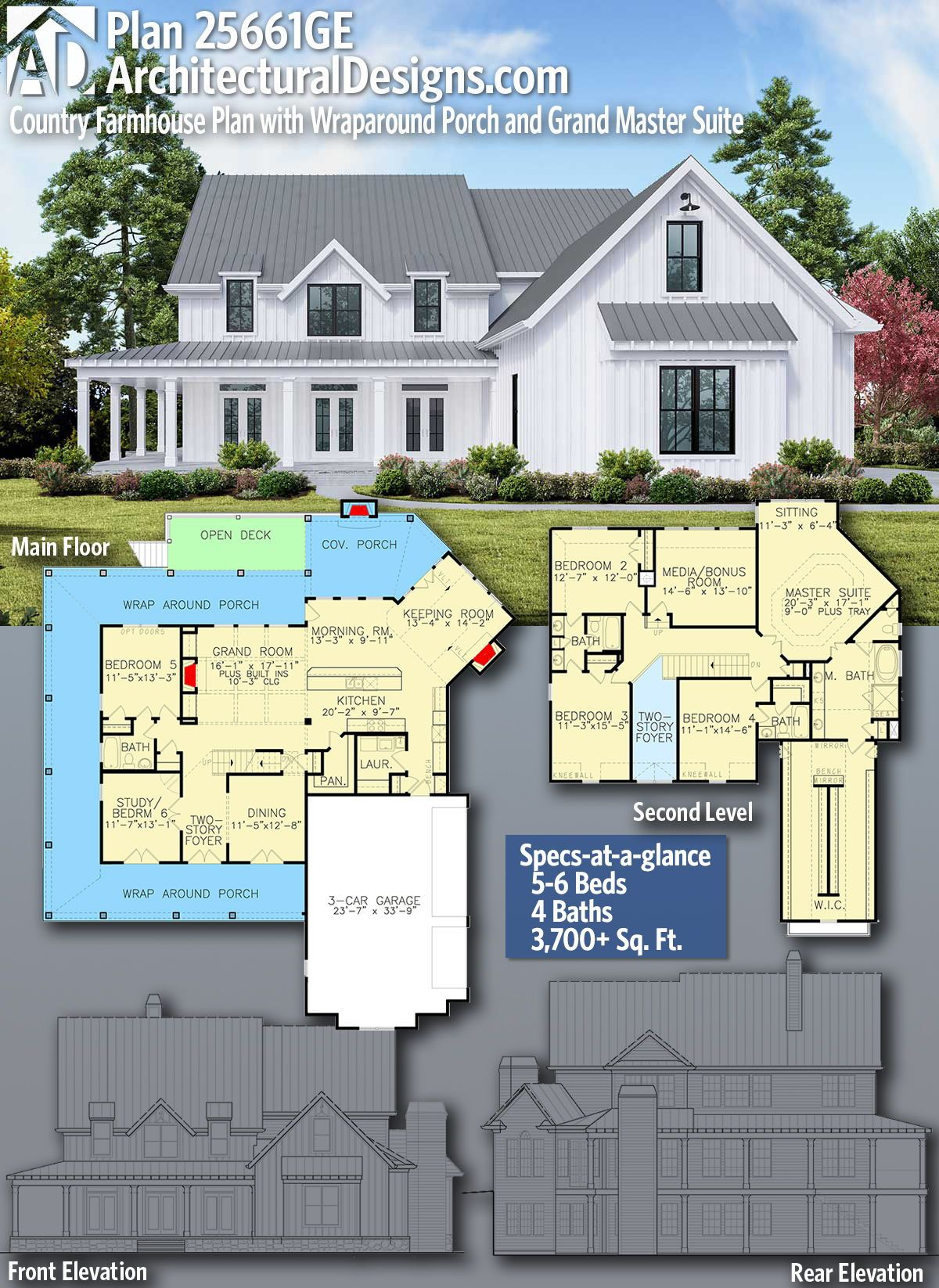 Plan 25661ge Country Farmhouse Plan With Wraparound Porch And Grand Master Suite Farmhouse Plans 6 Bedroom House Plans Country House Plans