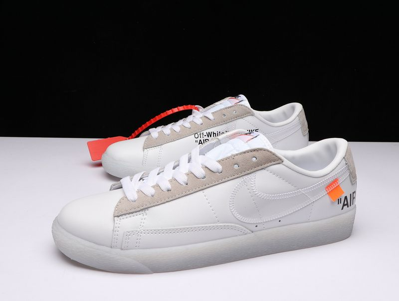 new arrivals a936d c77a6 Factory Authentic Unisex OFF White x Nike Blazer Low White Grey