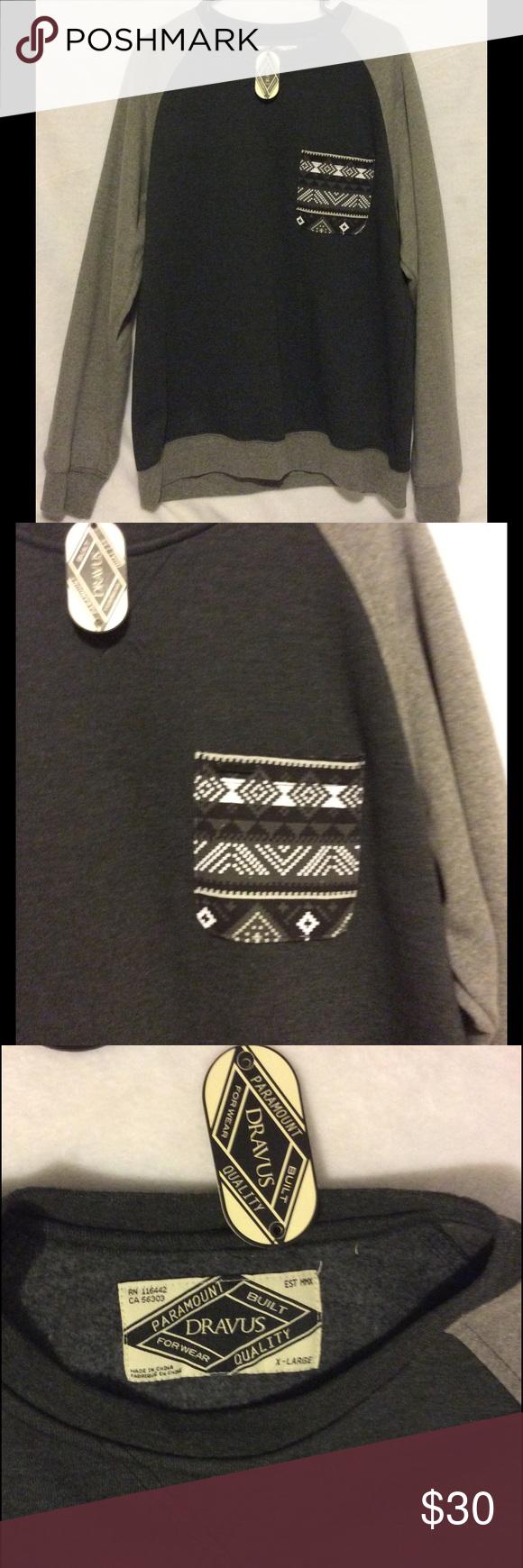 Menus dravus pocket crew sweatshirt crew sweatshirts pullover and