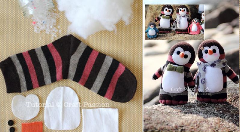 La famille des pingouins en chaussettes rayées! Patron gratuit