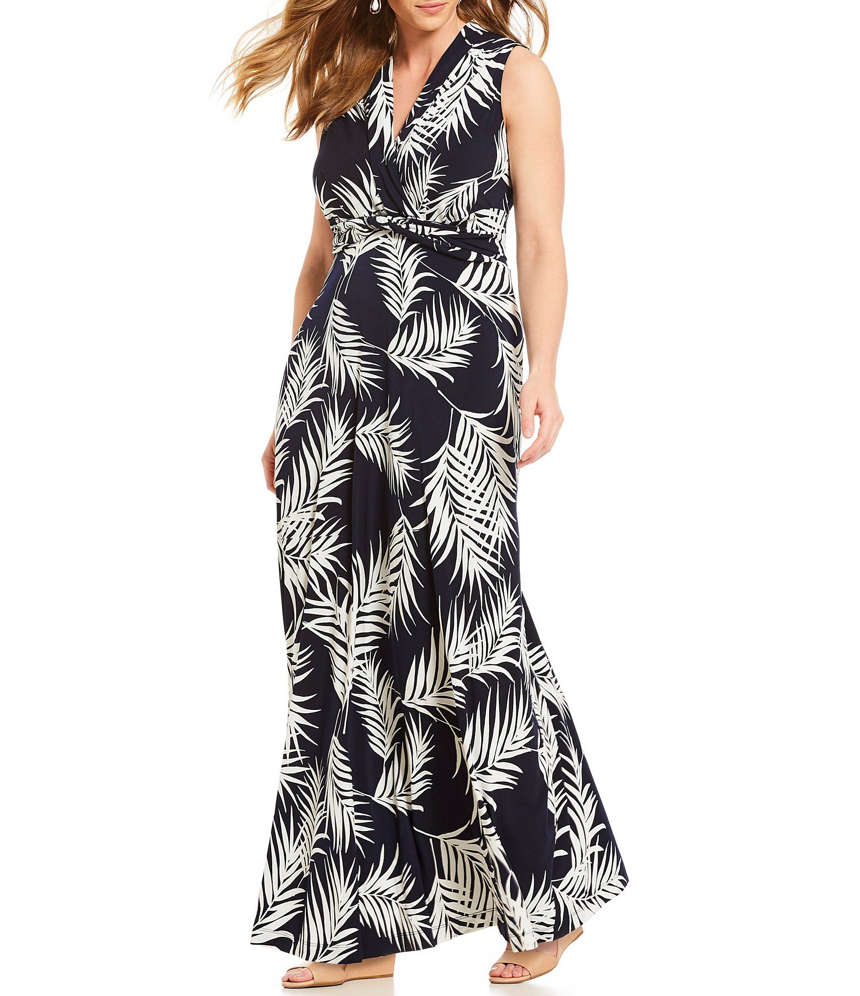 27b8c224ddf7 Jessica Howard Plus Twist Waist Palm Print Maxi Dress #Dillards ...
