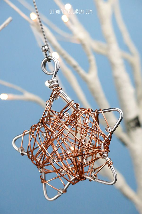 DIY Wire-Wrapped Star Christmas Ornament | Wire ornaments, Ornament ...