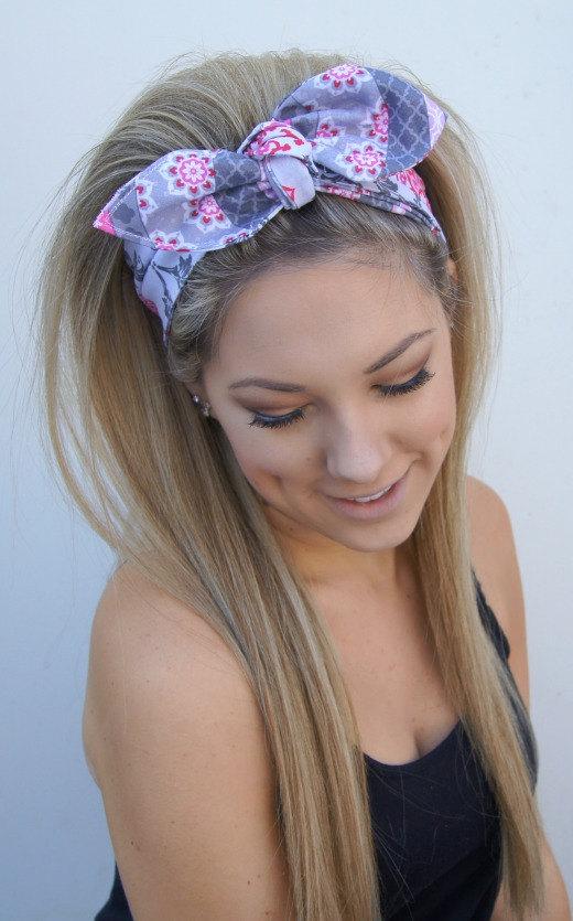 Dolly Bow Headband Reversible Rockabilly PIN UP Headwrap Preppy ... 7a21c6e079a