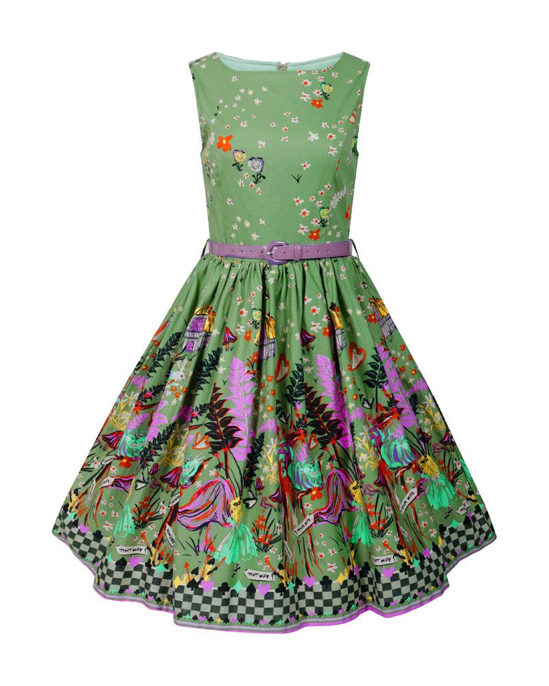 Audrey  Green  Alice Through The Looking Glass  Print Swing Dress ... dd076ef4f