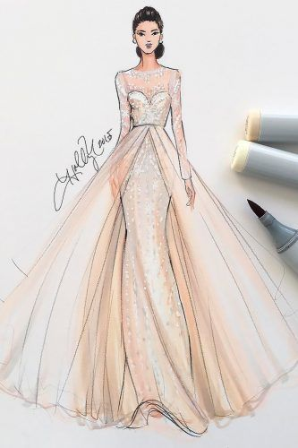 Photo of 27 Bridal Illustrations From Popular Dress Designers | Wedding Forward