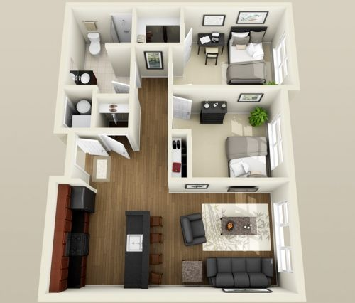 2 Bedroom Apartment Design Plans two bedroom apartment floor plans 3d | apartments | pinterest