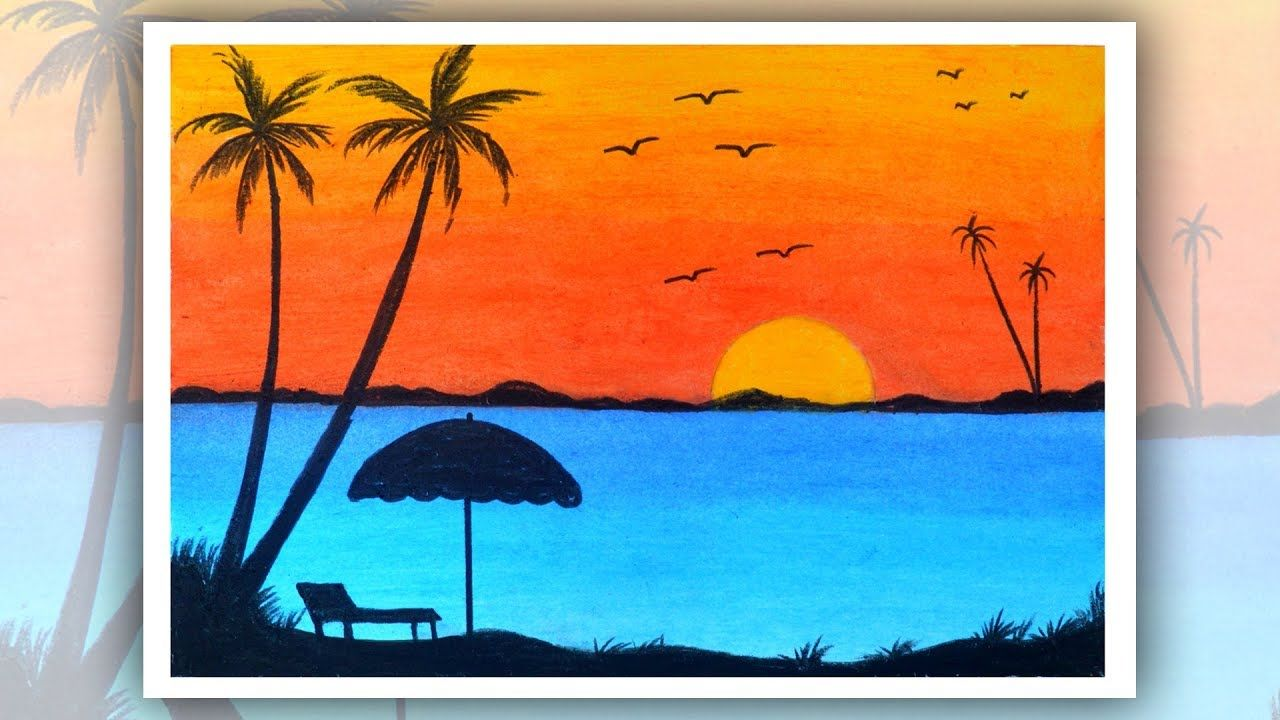 How To Draw Sunset Scenery For Beginners With Oil Pastel Step By Step Oil Pastel Drawings Sunset Painting Oil Pastel