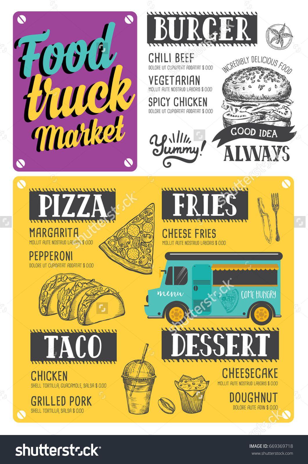Food truck Burger food menu. Creative and modern food menu ...