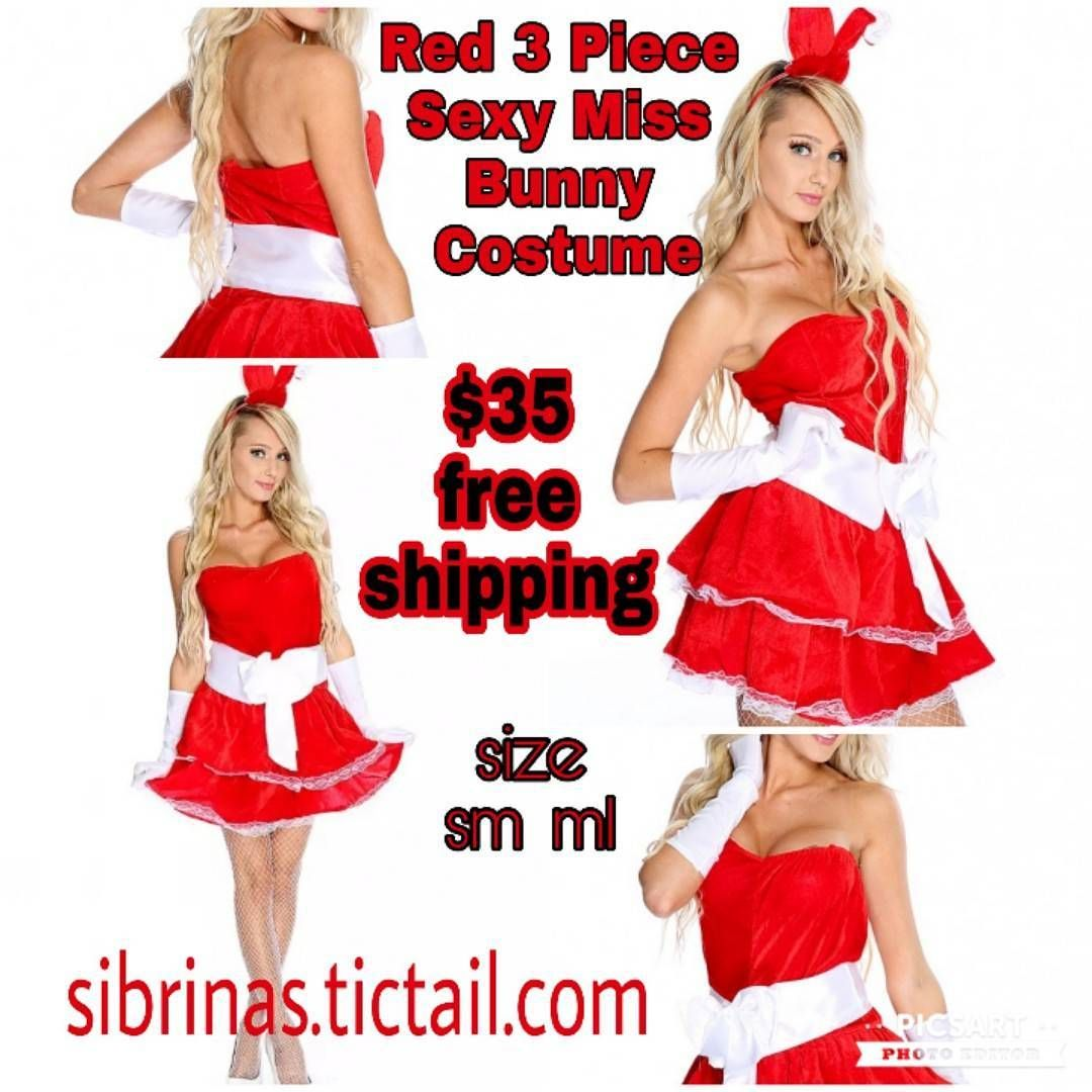 Red piece sexy miss bunny costume free shipping size sm and ml