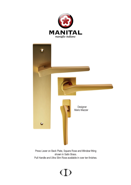 door handles italian design preso satin brass lever on square