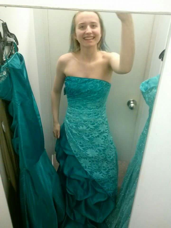 Faded Wavy Greenish Blonde Hair With Cute Prom Dress