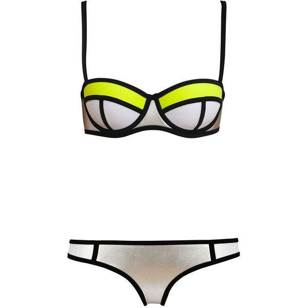 POPPY WIZZ FIZZ (2.715 UYU) ❤ liked on Polyvore featuring swimwear, bikinis, swimsuit, bikini tops, triangle swimsuit, neoprene triangle bikini, underwire bra and underwire swimsuits