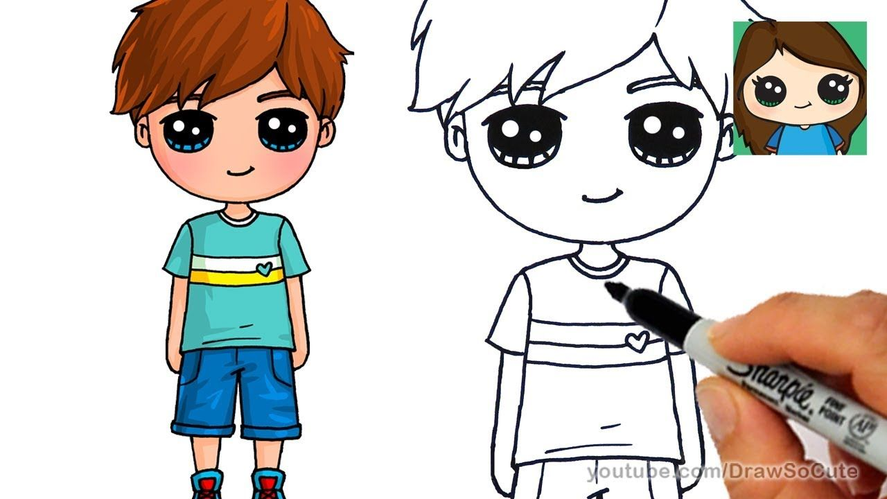 How To Draw A Cute Boy Easy Cute Boy Drawing Boy Drawing Little Boy Drawing