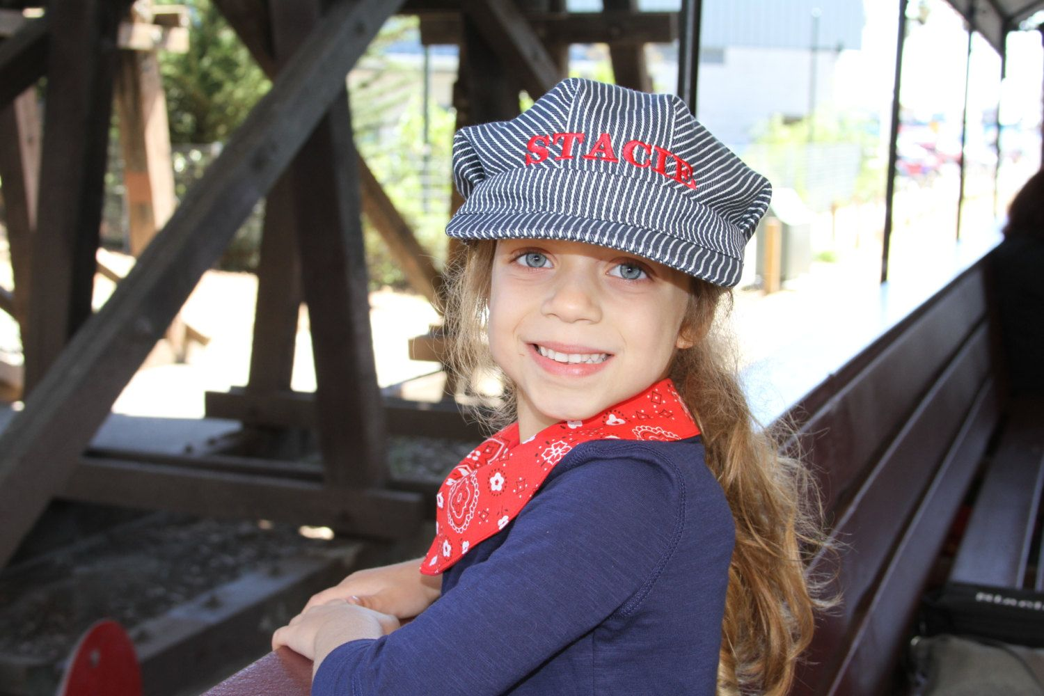 7142bc15a0367 PERSONALIZED Train Conductor Hat and Bandanna 2 piece set by EmbroideryMark  on Etsy