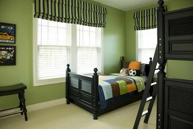 Inspiration for masculine bedroom Green and Brown Stripes Boy's Room