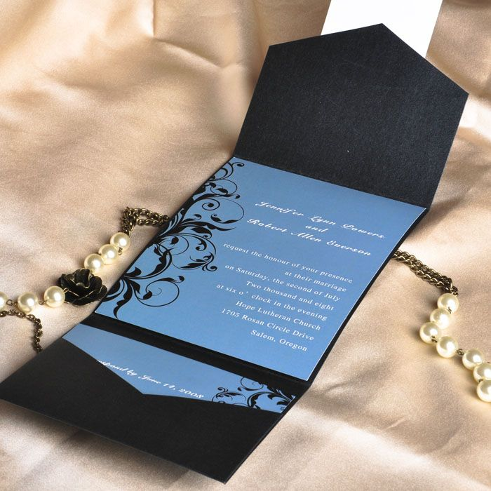 vintage dusty blue and black damask cheap pocket wedding invitations