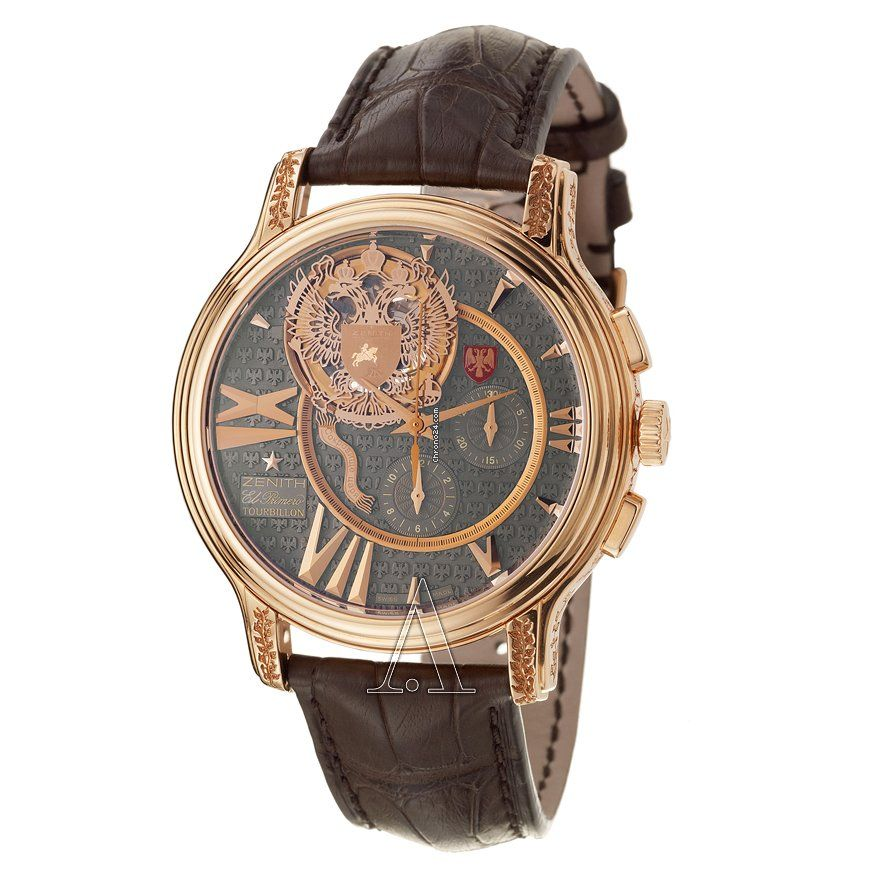 Zenith Men's Academy Last Tsar Tourbillon Chronograph Watch $144,950 #Zenith #watch #watches #chronograph rose gold case with crocodile skin bracelet and automatic movement