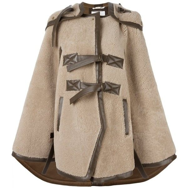 Chloé Shearling Cape ($7,342) ❤ liked on Polyvore featuring ...