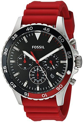 5098607267e70 Fossil Men s Quartz Stainless Steel and Silicone Casual Watch