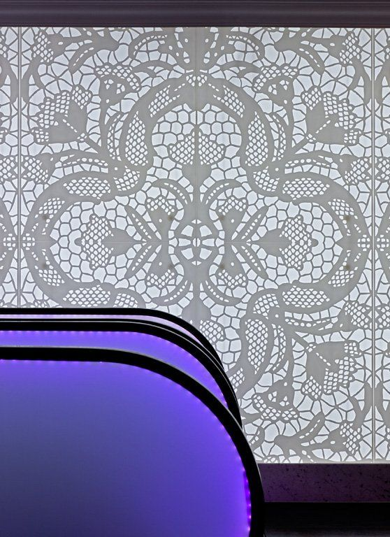 Violet  lace interior design by famous architect Antoine Pinto at   Sofitel Brussels Le Louise - Belgium