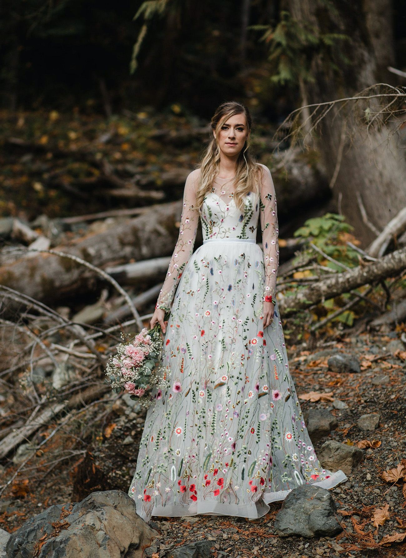 Trending Now The Embroidered Wedding Dress These Colorful Floral Gowns Are Turning Heads Green Wedding Shoes In 2020 Wedding Dresses With Flowers Embroidered Wedding Dress White Bridal Gown