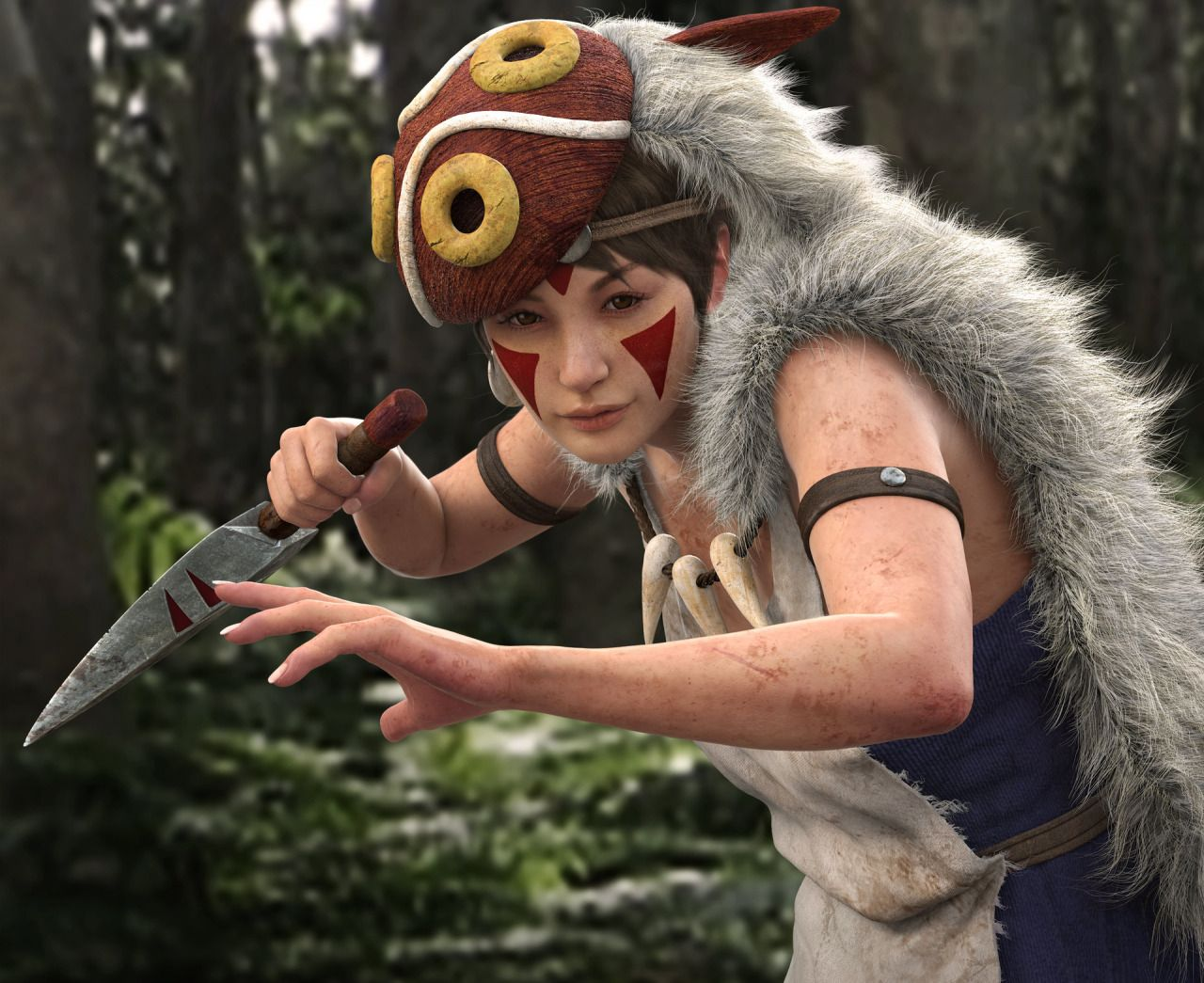 Princess Mononoke, created by Ho-young Kim using 3ds Max, BodyPaint, ZBrush and Unfold 3D
