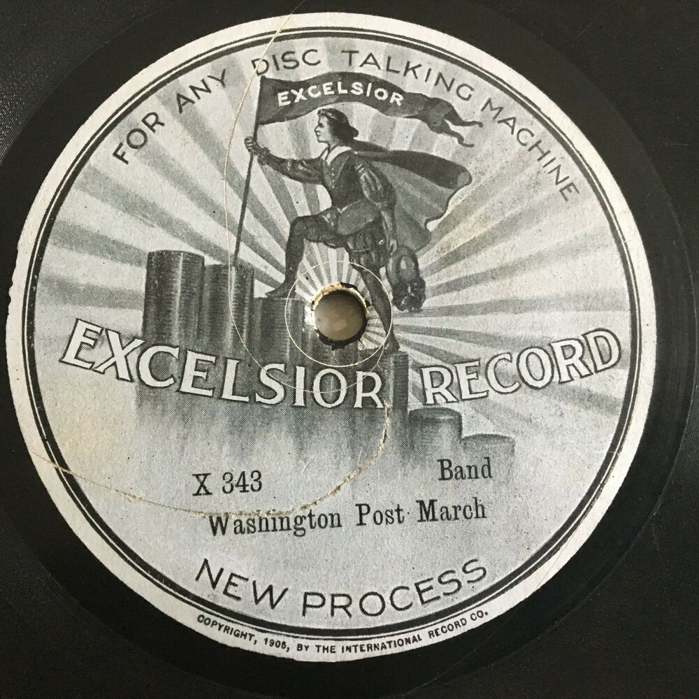 Excelsior Talking Machine Victrola 78 Rpm Record Very Early Disc Lovely Label Bandmarch 78 Rpm Records 78 Rpm Record Label Logo