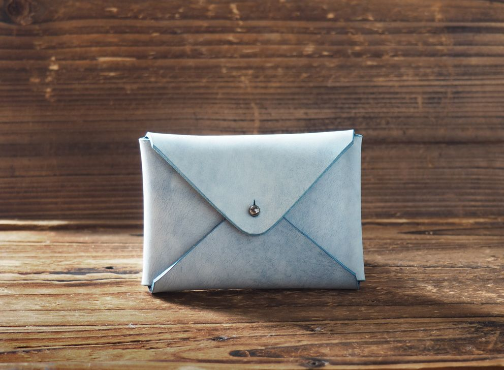 Leather Business Card Holder Coated with Wax #Blue | Business card ...