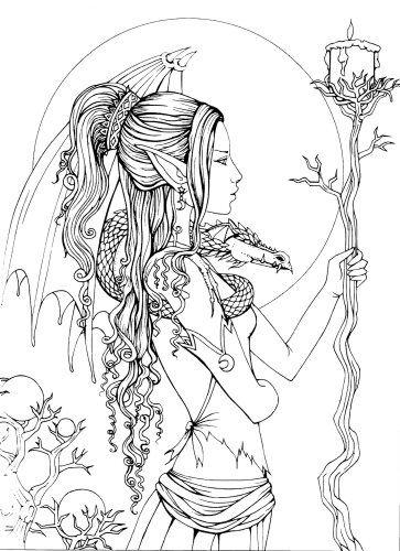 Mystical A Fantasy Coloring Book Fairy Coloring Pages Fairy Coloring Coloring Pages
