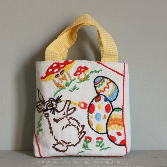 Bag vintage embroidery bunny and eggs by roxycreations on Etsy