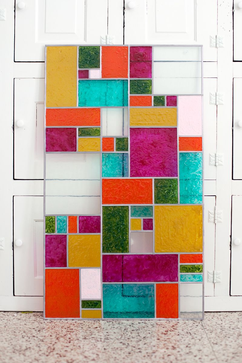 Bring a little color to your windowsill with a diy faux for Coloured glass panels