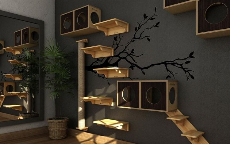 Katzen Kletterlandschaft Idee Regale Holz Kisten