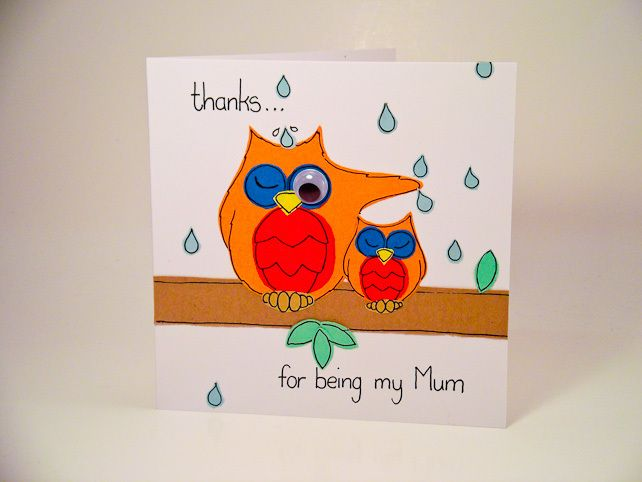 Greeting card - Mothers day - Two owls - Thanks for being my Mum £2.00