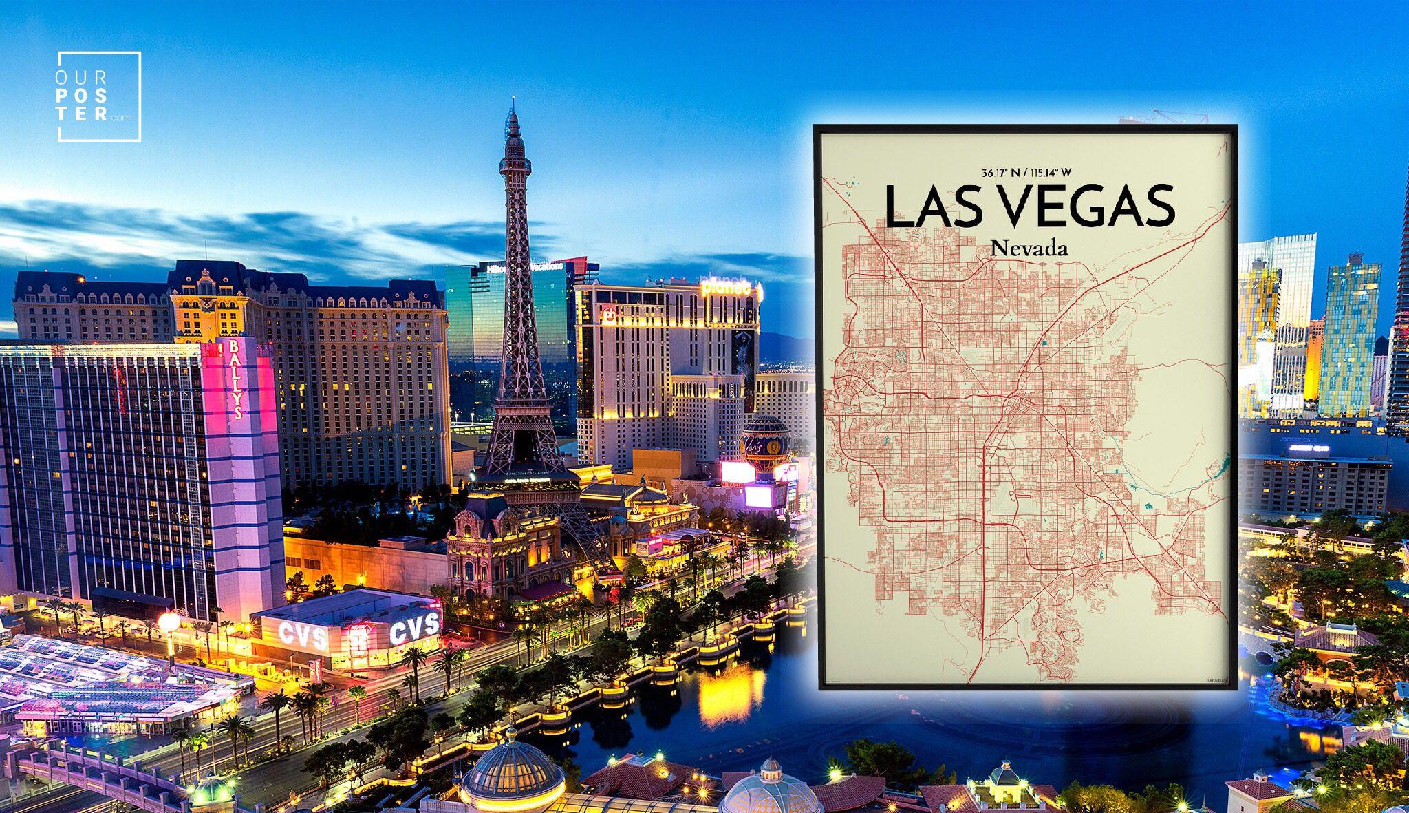 Las Vegas Las Vegas City Map City Map Poster Las Vegas City
