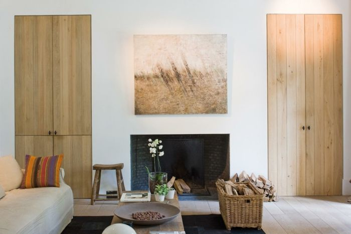 Wohnideen Wohnzimmer Gemtlich Schwarzer Teppich Holzakzente Rustikale Elemente