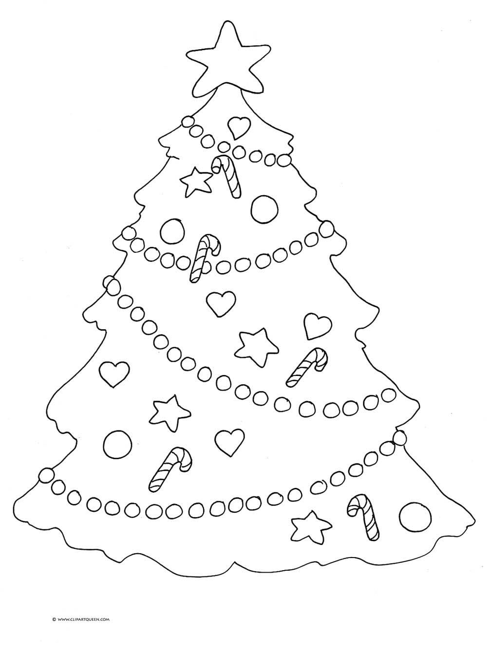 Christmas Clipart Colouring Pages Page 3 Coloring Tree Star Decorations