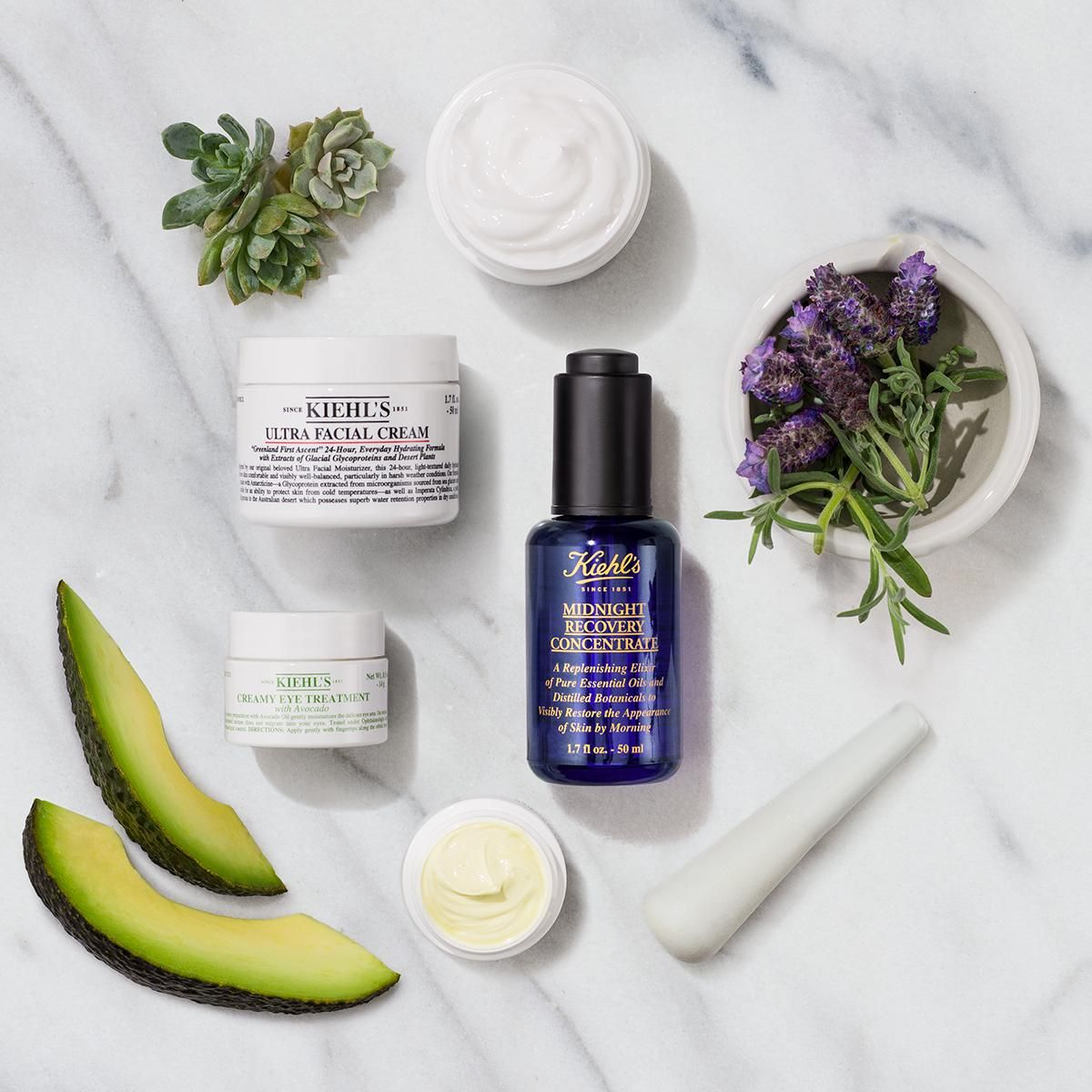 How do you get healthier skin? Start by adding these 3 skincare essentials to your routine. First, apply our Creamy Eye Treatment with Avocado to the under eye area. Packed with nourishing Avocado Oil, this eye cream provides skin with deep hydration. Next, apply 1-2 drops of our Midnight Recovery Concentrate, a blend of essential oils that improve skin overnight. Finally, lock in hydration with our best-selling moisturizer: Ultra Facial Cream.