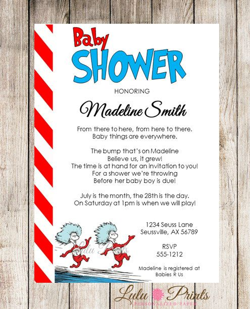 Dr Seuss/ Thing 1 And Thing 2 Baby Shower Invitations   I PRINT And MAIL