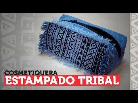 DIY - cosmetiquera o cartuchera con estampado tribal ¡JEAN RECICLADO!