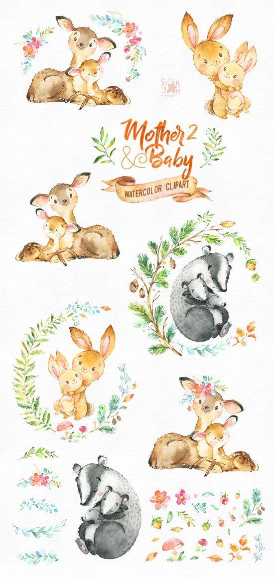 Mother & Baby 2. Watercolor animals clipart, deer, rabbit, brock ...