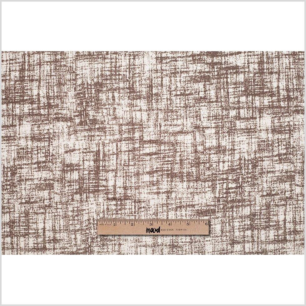 Italian White/Brown Abstract Printed Silk Woven Fabric by the Yard | Mood Fabrics