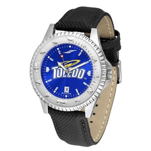 """Toledo Rockets NCAA Anochrome """"Competitor"""" Mens Watch (Poly/Leather Band) by SunTime. $84.59. Rotating Bezel. Color Coordinated. Calendar Date Function. Showcase The Hottest Design In Watches Today! A Functional Rotating Bezel Is Color Coordinated To Highlight Your Favorite Team Logo. A Durable, Long Lasting Combination Nylon/Leather Strap, Together With A Calendar Date, Round Out This Best Selling Timepiece. The Anochrome dial option increases the visual impact wit..."""