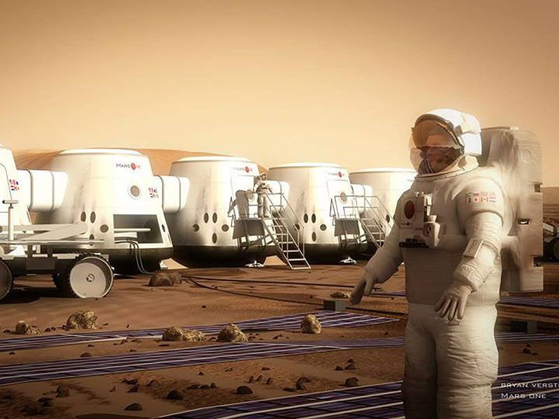 An imaginary vision of how mars will look like in initial years after human landing on mars.