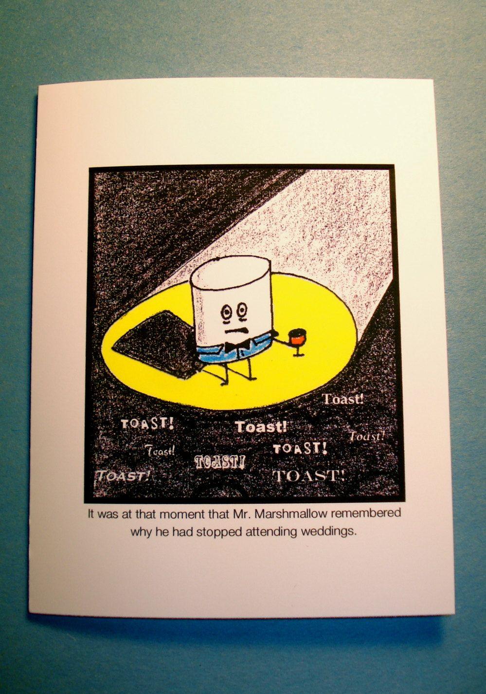 funny wedding card  cartoon  marshmallow wedding toast